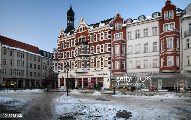 beautiful buildings in a square in koepenick, a district in the east of berlin, germany - köpenick stock pictures, royalty-free photos & images