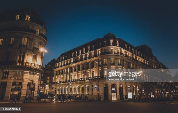 beautiful buildings of paris by night, architecture of paris at night - paris night stock pictures, royalty-free photos & images