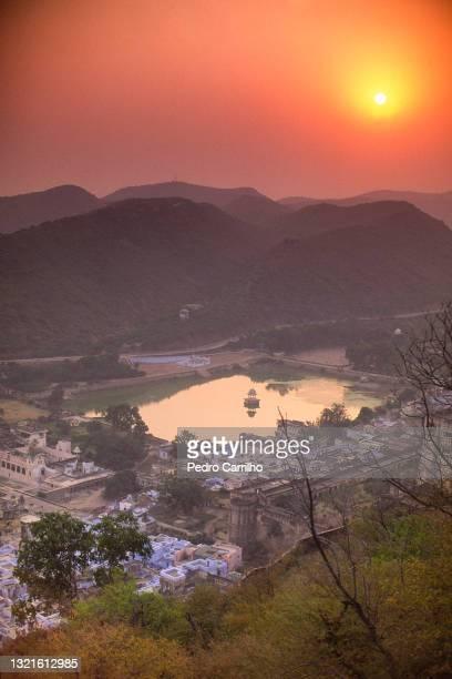 sunset view bundi town from fort