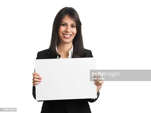 beautiful businesswoman holding a blank sign - blank sign stock photos and pictures