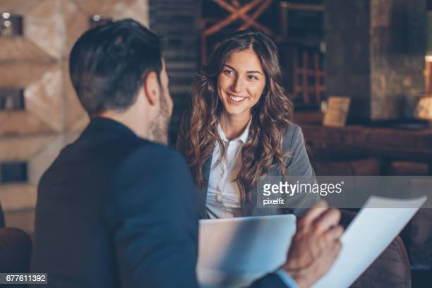 beautiful businesswoman on a meeting - discussion stock photos and pictures