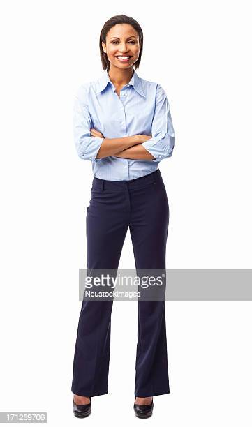 beautiful businesswoman standing with hands folded - isolated - button down shirt stock pictures, royalty-free photos & images