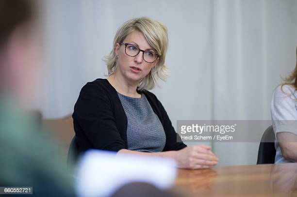 Beautiful Businesswoman Talking During Meeting At Conference Room