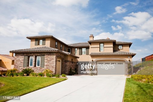 . Beautiful California House With Stone Walls Stock Photo   Getty Images