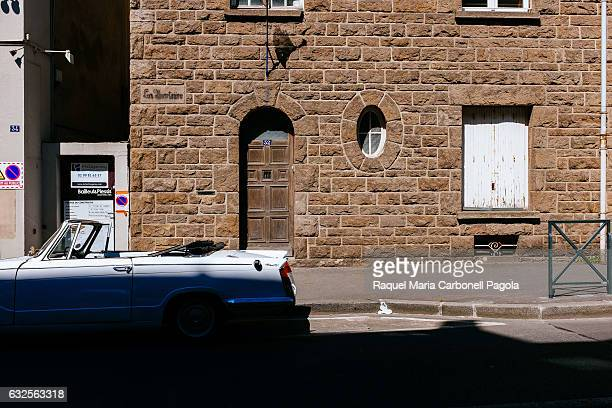 MALO BRITTANY ILLE ET VILAINE FRANCE Beautiful car parked in front of stone house doorway