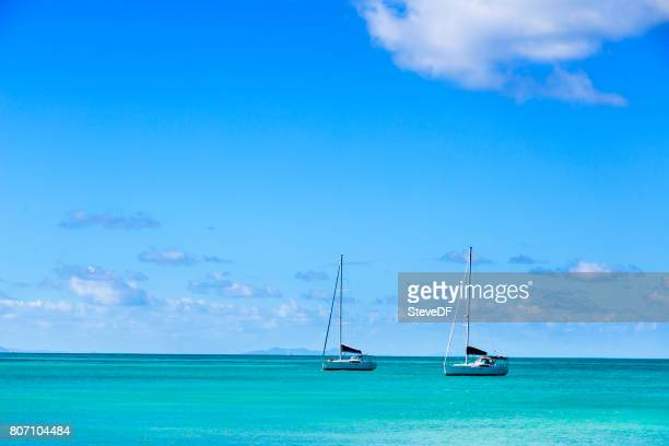 Beautiful Caribbean Anchorage with anchored sailboats