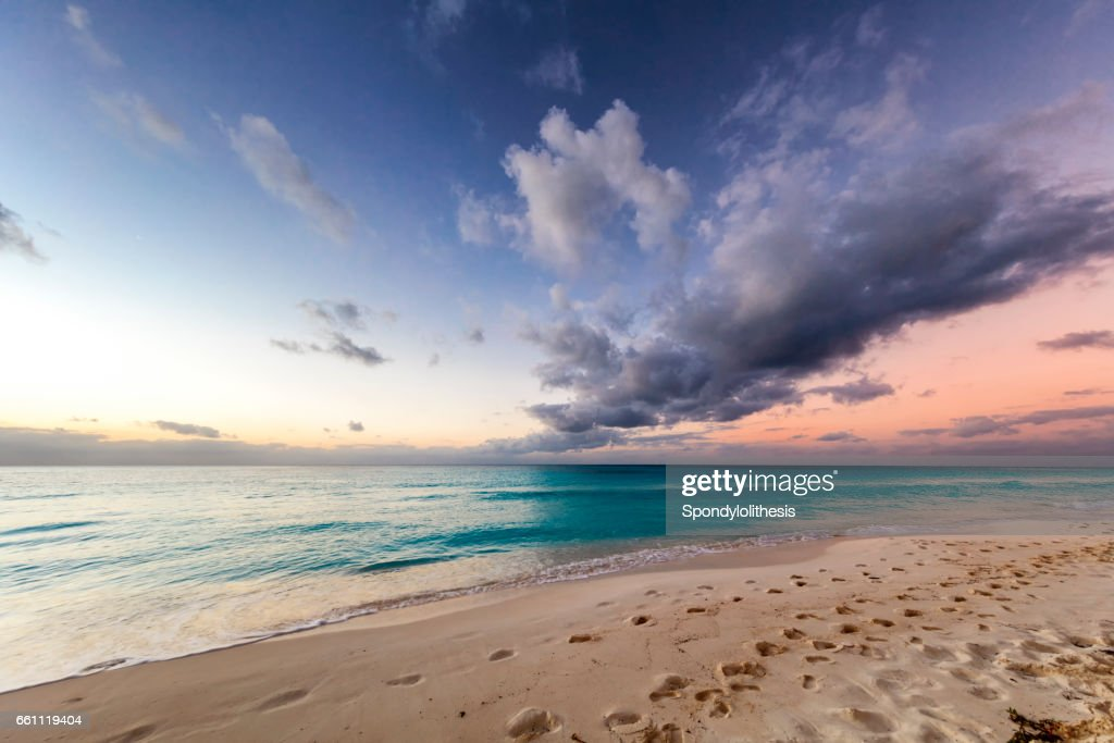 Beautiful Caribbean beach at Sunrise, Cuba : Stock Photo
