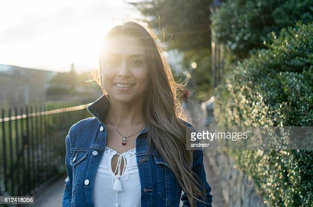 Beautiful casual woman outdoors