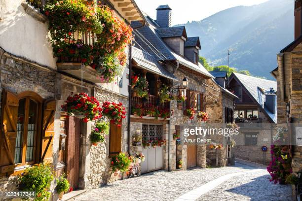 beautiful catalan town in the pyrenees mountains full of flowers. - town stock pictures, royalty-free photos & images
