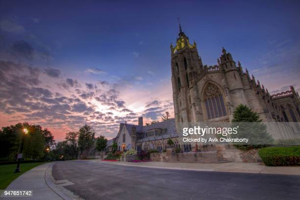 beautiful cathedral during dusk - michigan stock pictures, royalty-free photos & images