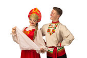 beautiful caucasian cuple dancing russian folk