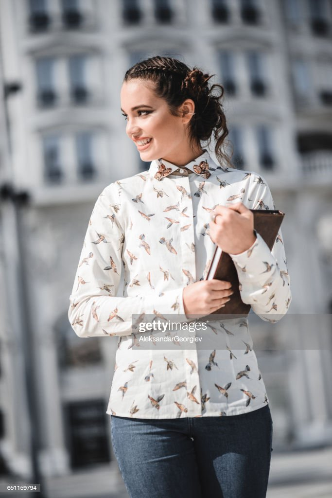 Beautiful Caucasian Female Student in the City : Stock Photo