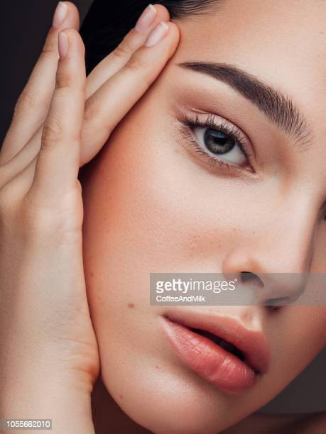 beautiful cheerful woman - make up stock pictures, royalty-free photos & images