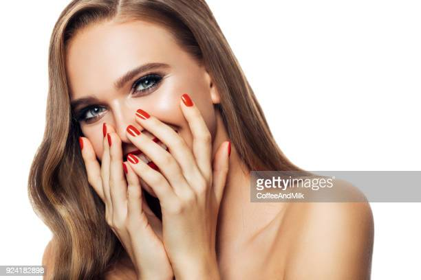 beautiful cheerful woman - fingernail stock pictures, royalty-free photos & images