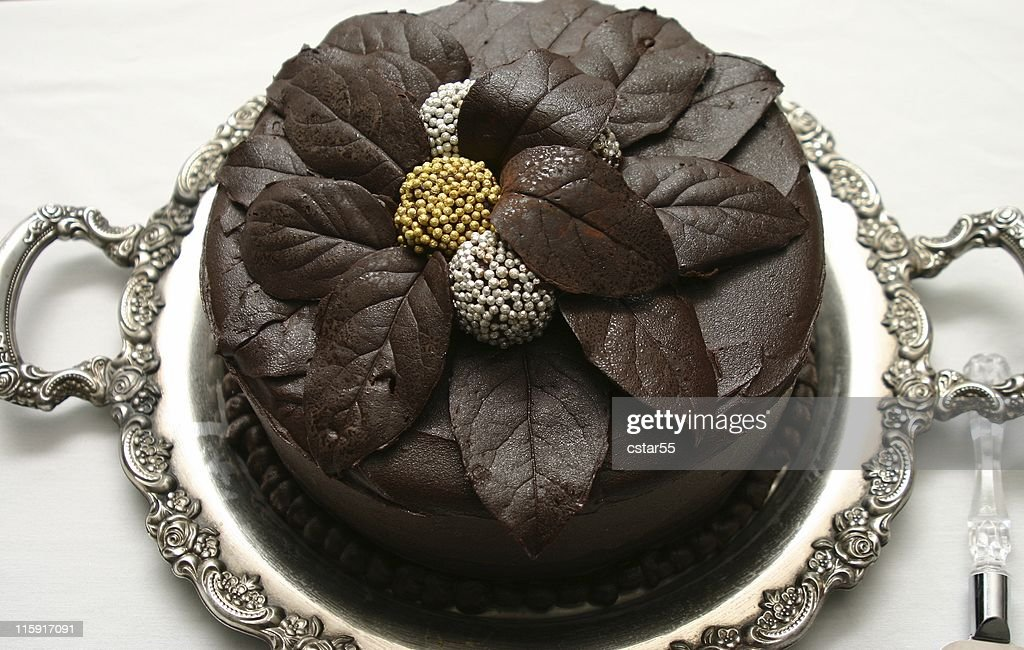 Beautiful Chocolate Cake On Ornate Silver Tray Stock Photo Getty