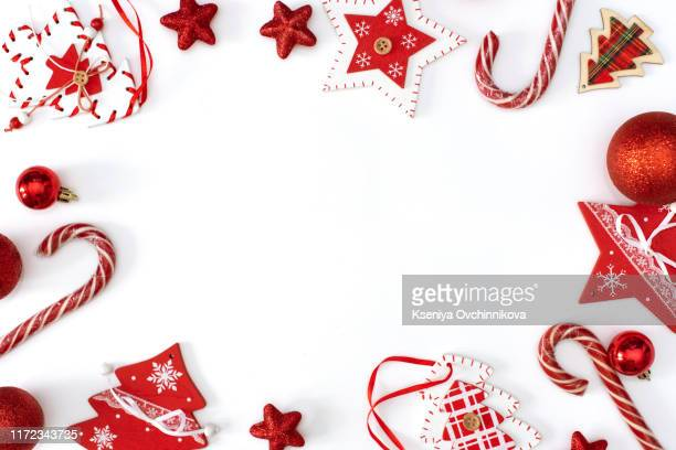 beautiful christmas gift and decor on color background - christmas frame stock pictures, royalty-free photos & images