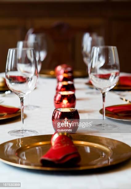 Beautiful Christmas Holiday Season Table Setting with Candles