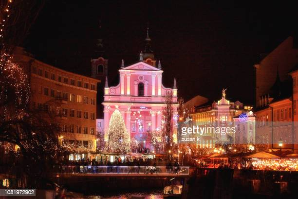 beautiful christmas light in the heart of old town ljubljana. - ljubljana stock pictures, royalty-free photos & images