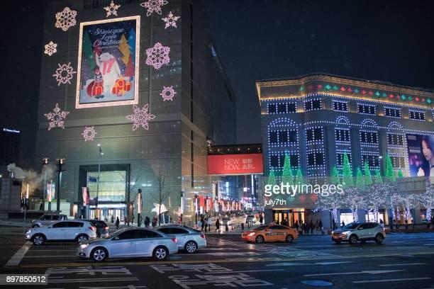 Beautiful Christmas Lights turning on Shinsegae department store