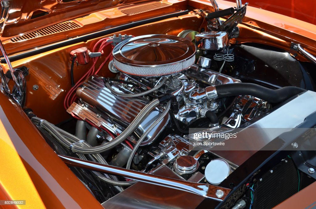 Beautiful Chromed Big Block V8 Engine In A 1967 Chevy Camero On