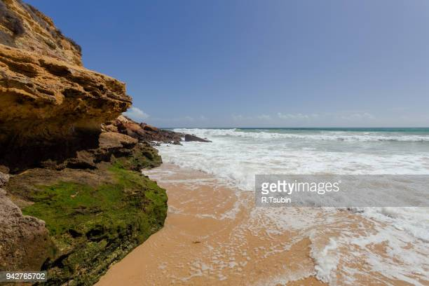 beautiful clear mediterranean sea - lagos portugal stock photos and pictures