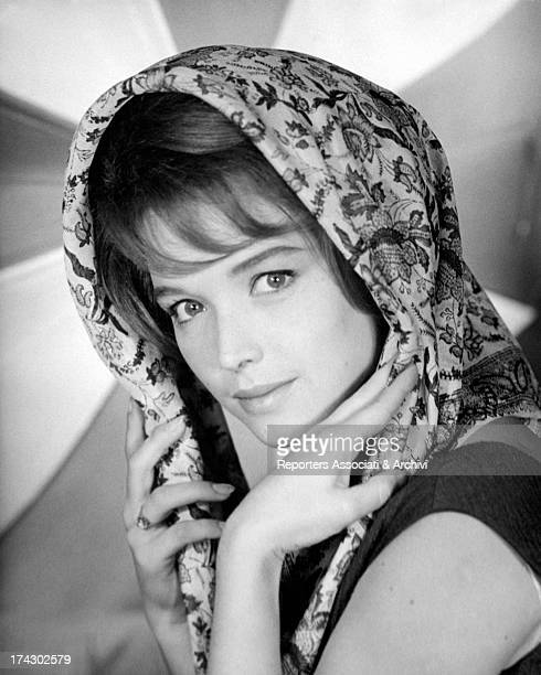 Beautiful closeup of RAI announcer and presenter Aba Cercato who covers the head with a stylish scarf December 1961