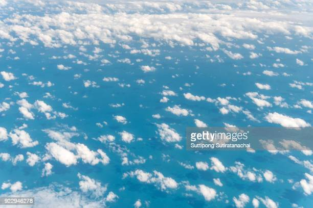 Beautiful cloudscape and landscape view of Clouds with blue sky day from top view