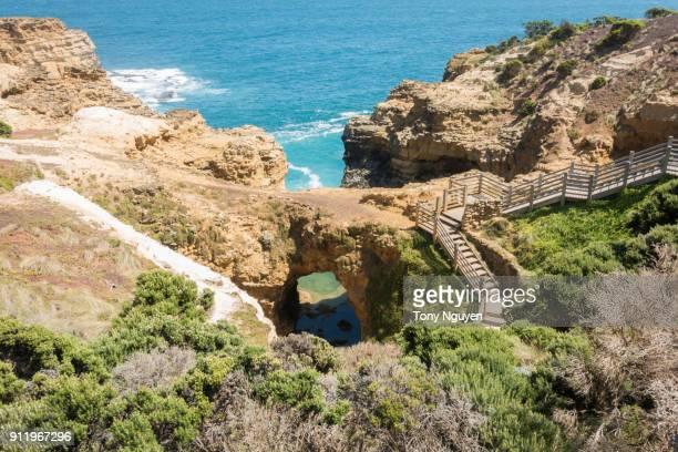 Beautiful coast along Great Ocean Road, Victoria, Australia. Natural landscape view, some famous including Twelve Apostles, Loch Ard, Razorback, arch, London Bridge, Grotto.