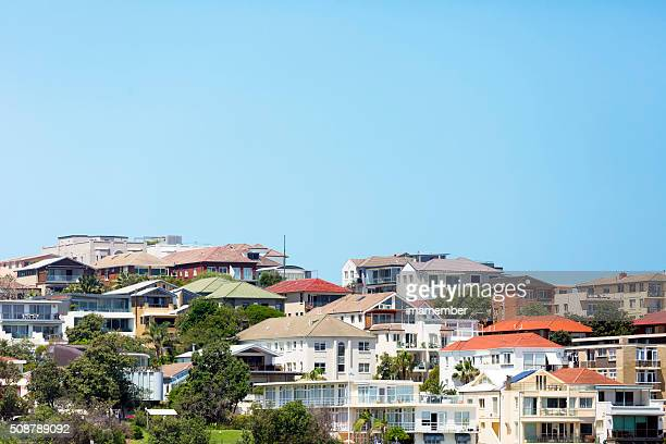 beautiful coastal town bondi, suburb of sydney australia, copy space - sydney stock pictures, royalty-free photos & images