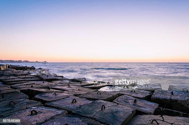 Beautiful coastline of Alexandria Egypt at sunset