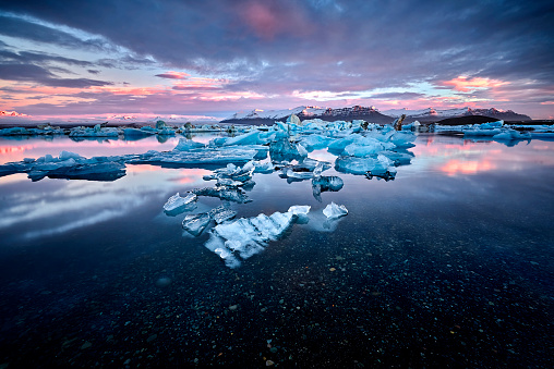 Beautiful cold landscape picture of icelandic glacier lagoon bay 648569098