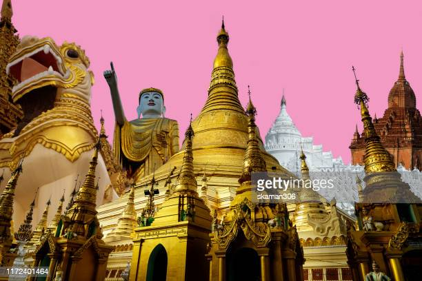 beautiful collage of shwedagon pagoda at sunset cloud and background near yangon myanmar - yangon stock pictures, royalty-free photos & images