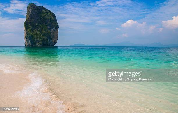 Beautiful color of sea water and sands at Poda island in Krabi province, Thailand.
