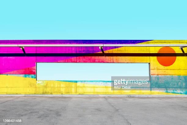 beautiful colorful artwork paint in concrete wall with sky window. - arte, cultura e espetáculo imagens e fotografias de stock