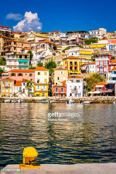 beautiful colorful coastal town parga in epirus, greece. - epirus greece stock pictures, royalty-free photos & images