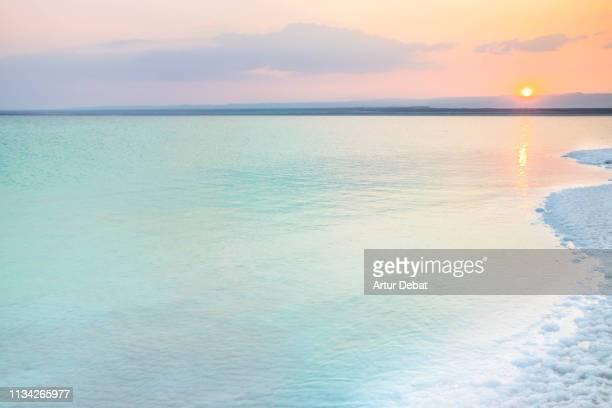beautiful colorful dead sea during sunset with tranquil scene. - mar muerto fotografías e imágenes de stock