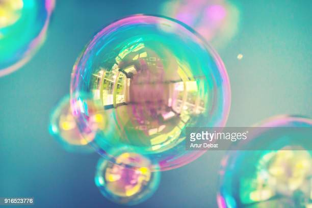 Beautiful colorful soap bubbles with nice reflection and composition.