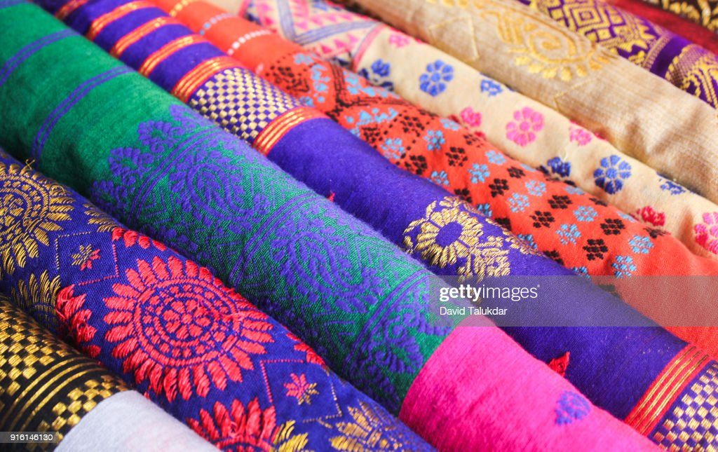 Beautiful colourful silk cloths : Stock Photo