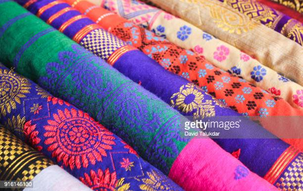 beautiful colourful silk cloths - sari stock pictures, royalty-free photos & images