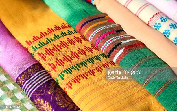 beautiful colourful silk cloths - guwahati stock photos and pictures
