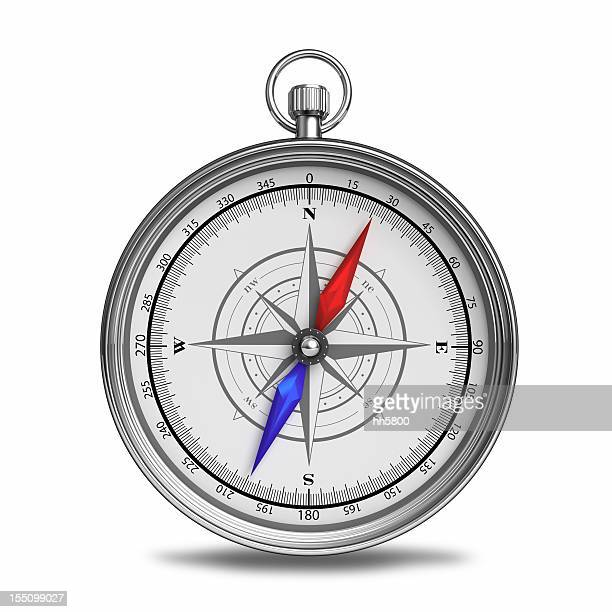 a beautiful compass with red and blue directional pointers - compass stock pictures, royalty-free photos & images