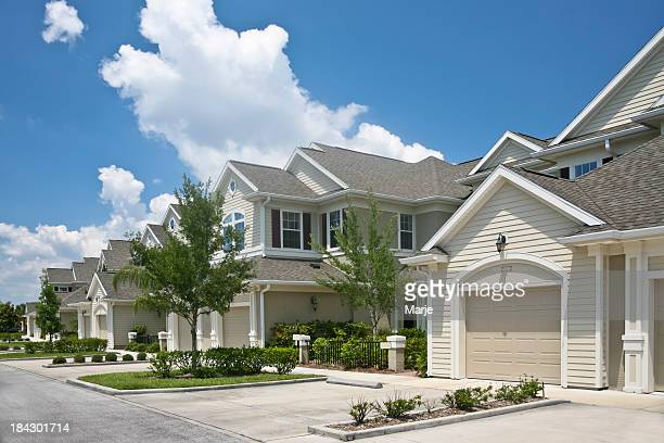 beautiful condominium community - terraced_house stock pictures, royalty-free photos & images