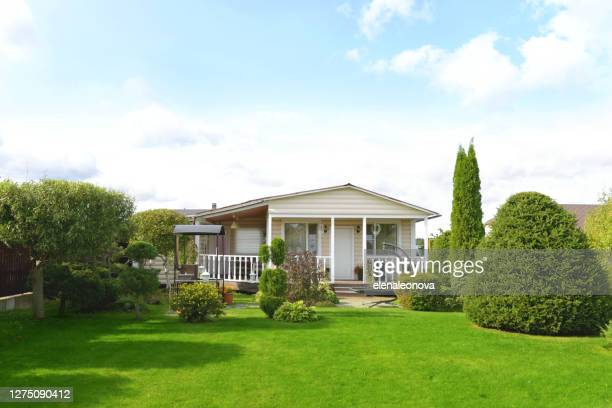 beautiful country house and garden - domestic garden stock pictures, royalty-free photos & images