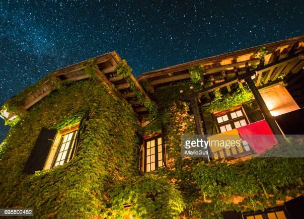 Beautiful countryside house at night
