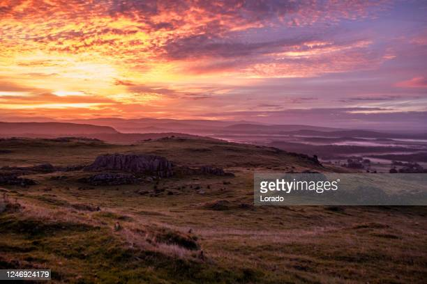 beautiful countryside landscape in the north of england - romantic sunset stock pictures, royalty-free photos & images