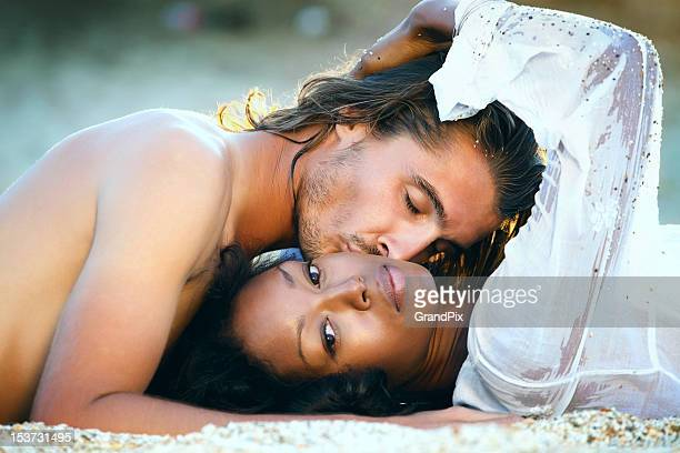 beautiful couple at sunset - black people kissing stock pictures, royalty-free photos & images