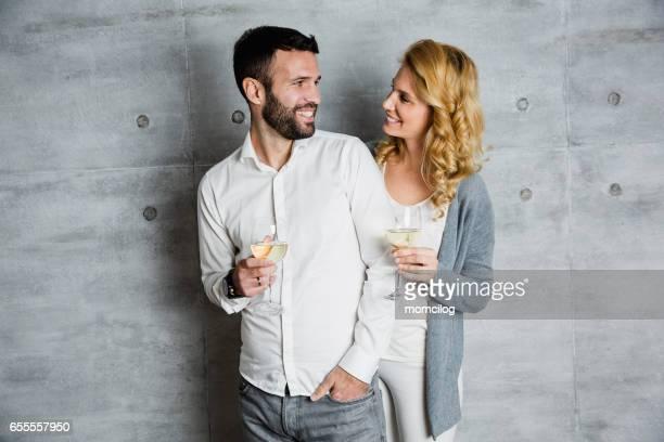 Beautiful couple celebrating