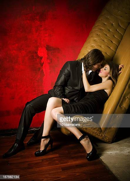 beautiful couple - leg kissing stock photos and pictures
