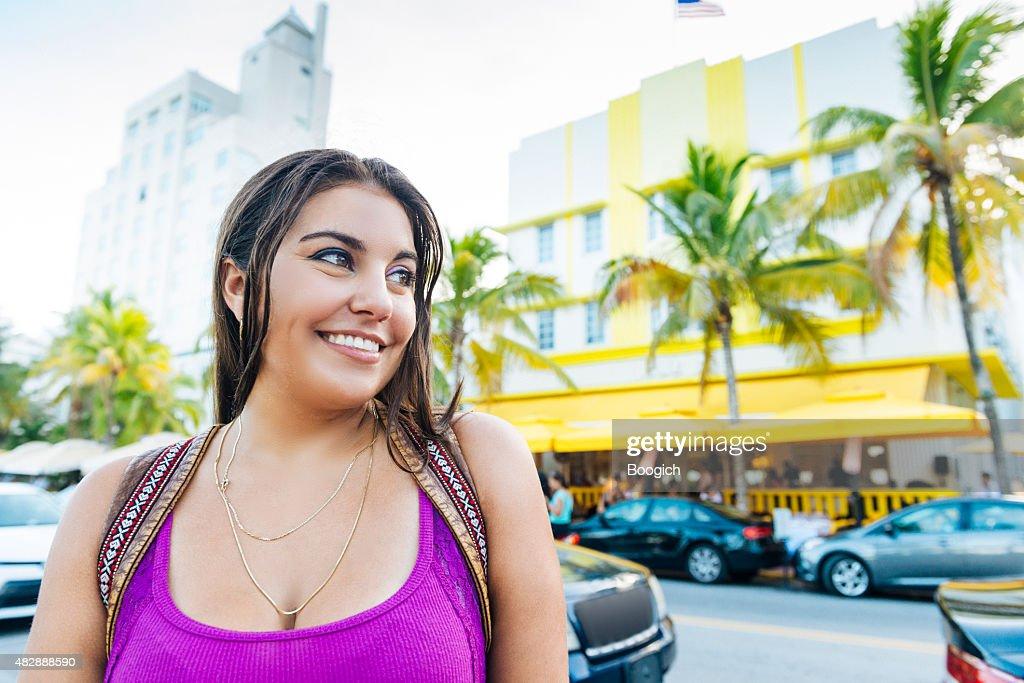 Beautiful Cuban American Woman on South Beach Miami Travel Destination : Stock Photo