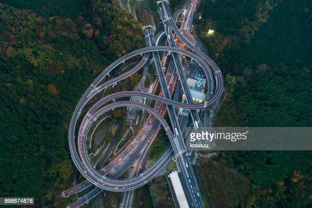 a beautiful curve of the junction. - paesaggi foto e immagini stock